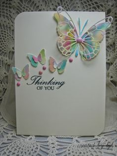 """Thinking of You Card"" using Watercolor Butterflies, via createdbybjk.blogspot.com"