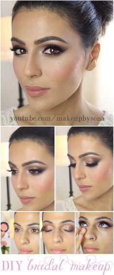 10 Make up Tutorials for Bigger Eyes # - # for # bigger . - Make up - Diy Wedding Makeup, Wedding Makeup For Brunettes, Wedding Makeup Tutorial, Wedding Makeup For Brown Eyes, Bridal Hair And Makeup, Diy Makeup, Makeup Ideas, Bridal Beauty, Makeup Tips