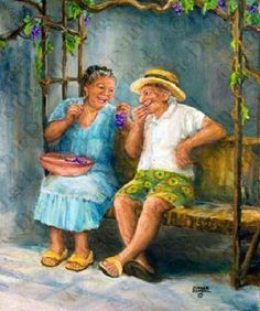 These two jovial oldies remind me of my Italian Grandparents for some reason - must be the grapes   art by ~ Dianne Dengel