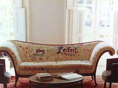 Hand-colored graffiti sofa