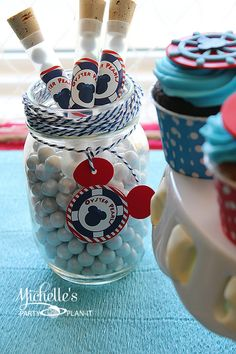 Treats at a Nautical Mickey Mouse Party #nautical #mickeymouse