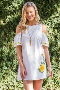 Maya Cold Shoulder Floral Embroidered Dress via Francesca's.com