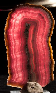 Rhodochrosite Stalactite slice (polished) with Agate