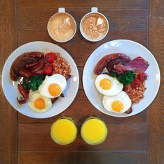 """""""Saturday: The Full French (Toulouse sausage, Alsace bacon, fried egg, mushrooms and Provençale haricot beans, caffè latte and fresh orange…"""" French Restaurants, London Restaurants, Breakfast Pizza, Breakfast Recipes, Haricot Beans, Breakfast Of Champions, Alsace, Cobb Salad, Bacon"""