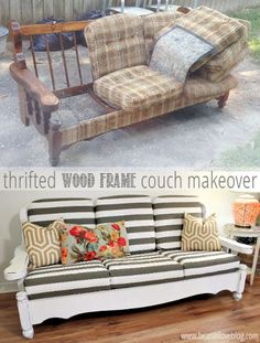 Diy Furniture - from old and falling apart to new and snazzy - a vintage, wood frame couch makov. Furniture Rehab, Decor, Furniture Diy, Furniture Makeover, Wood Frame Couch, Refurbished Furniture, Furniture, Couch Makeover, Home Decor