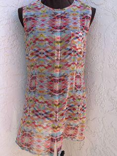 CAbi size M Avery button down sleeveless sheer tunic top style 760  #CAbi #ButtonDownShirt #Casual
