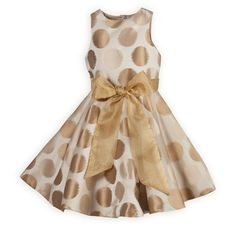 A fun dress for twirling! Gold polka dots against a pale gold background in shimmering poly taffeta. Waisted dress with full circle skirt has removabl Girls Holiday Dresses, Girls Special Occasion Dresses, Dresses For Tweens, Girls Party Dress, Girls Dresses, Party Dresses, Holiday Party Outfit, Holiday Outfits, Holiday Wear