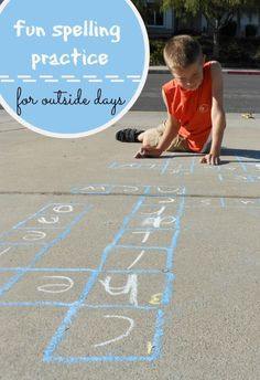 giant sidewalk crossword puzzle for kids - great for spelling practice