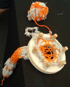 French knitting using rug yarn and selvedged yarn. By fabrications-hackney