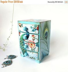 SPRING SALE Peacock feather and flowers  aqua blue Mini wooden chest drawers,apothecary cabinet , Boho stile, romantic, green, blue,pink,aqu