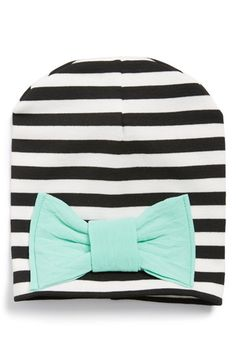 Baby Bling Stripe Beanie With Mint Bow (Baby Girls) available at #Nordstrom
