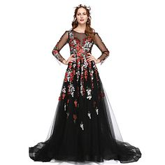 Formal+Evening+Dress+-+Elegant+A-line+Jewel+Floor-length+Lace+Tulle+with+Lace+Pleats+–+GBP+£+123.99