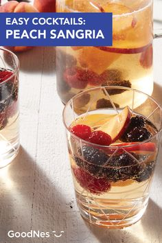 End summer on a high note with a little help from this Peach Sangria. This easy cocktail recipe is perfect for serving at backyard barbecues and outdoor dinner parties alike. Peaches, blackberries, and raspberries give this adult beverage a sweet, fruity flavor while ginger ale adds a fun burst of bubbles. Easy Cocktails, Fun Drinks, Beverages, Summer Drink Recipes, Cocktail Recipes, Peach Sangria, Outdoor Dinner Parties, Refreshing Summer Drinks, Ginger Ale