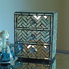 Mirror Jewelry Box With Mosaic Zig Zag Pattern - Three Drawer