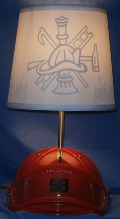 Firefighter Lamp Shade by devinFUNKdesigns on Etsy