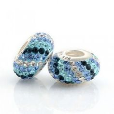 Silver 3 Blue And White Scroll Bar Crystal Bead