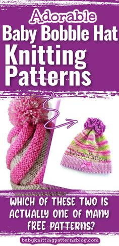 Bobble Hat Knitting Patterns for baby. Baby heads lose heat rapidly, keeping them covered-a good idea. Cute bobble hats do the job in style. Baby Hat Knitting Patterns Free, Baby Hat Patterns, Baby Hats Knitting, Knitted Hats, Free Pattern, Magic Loop Knitting, Knitting Help, Bobble Hats, Cute Little Baby
