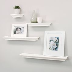 Features:  -Set of four contoured ledge style shelving.  -Various lengths create an eclectic look.  -Convenience and elegance merged into a classic product.  -Inlcudes hanging hardware that consists o