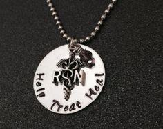 Personalized RN Nurse Necklace-Nurse Gift-Nursing Graduation-LPN-Habd Stamped-Nurse Necklace-Medical Necklace