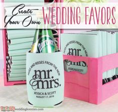 Create your own personalized wedding koozie favor with us! We offer over 800 customizable artwork templates & 45 koozie product color options! Your options are endless! Every wedding koozie order also comes with a FREE complimentary bride & groom koozie! Use coupon code PINTEREST10 and receive 10% off your wedding koozie order! Sale applies to piece price only, not valid with other coupon codes and expires July 31, 2016. #koozies