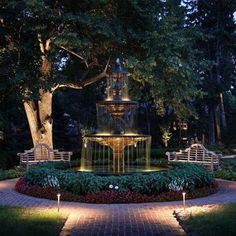 Lighted Fountain Landscapes Design Ideas, Pictures, Remodel, and Decor