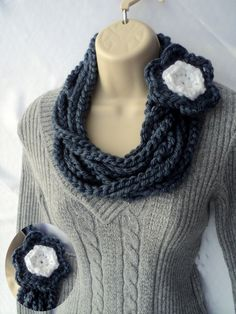 Crochet PATTERN - 3 for one - Bulky Cowl - Chunky Chain and Flower - Spring Flower Net