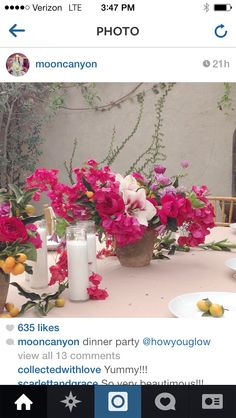 TABLE DECOR - white tall candles, bright florals and brass vases - add small lanterns.  Love the vines climbing up the wall
