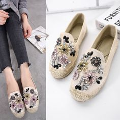 Women Loafer Round Toe Espadrilles Crystal Comfortable Hemp Bottom Frisherman Shoes Slip on Zapato Mujer Plus Size 40 Black