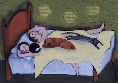 "SOLD!  starting bid $14.99  original MODERN folk art Mixed Media Painting CATS, DOG, ""Family Bed"" By Cris"