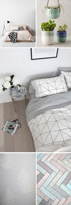 Calm, relaxing interior mood board for bedrooms. Grey + white colour schemes for the bedroom.