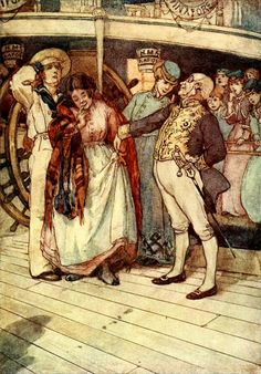 "16.  ""Corcoran presented blushing little Buttercup to Sir Joseph, who gave her Sixpence on the spot"".   —  Alice B. Woodward Illustrations: The Pinafore Picture Book: The Story of H.M.S…"