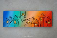 "SOLD ""Pop Houses"" Original Illustrative Canvas Painting by Cindy Thornton  #rainbow #illustration #painting #homes #neighborhood #community #art #contemporary #cartoon #house #fun"
