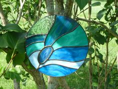 AGATES STAINED GLAS | Blue/green stained glass suncatcher with by WildheartGlassDesign
