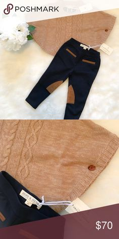 Tan cable sweater cape & navy blue riding pants Tan cable sweater cape w/ navy blue riding pants made with organic cotton. Great for fall  Matching Sets