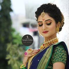 Image may contain: 1 person Indian Bridal Photos, Indian Wedding Poses, Indian Bridal Outfits, Indian Wedding Hairstyles, Indian Bridal Makeup, Indian Wedding Photography, Bride Hairstyles, Updo Hairstyle, Marathi Bride