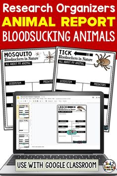 These digital Blood Sucking Animals of the world research organizers are the perfect tool to help your students organize their research for their project or report. Each digital blood sucking animal organizer helps students organize a variety of information about their chosen animal including its ecosystem, habitat, a description, its diet, fun facts and more. Perfect for use with Google Classroom, each of these digital organizers also comes with a page for students to write a short report.