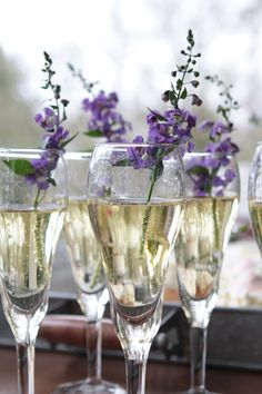 Add a splash of color to your champagne toast with clippings from your container garden.