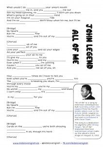 John Legend - All of me - Kids Love English listening through songs Dream English, English Class, English Lessons, Teaching English, Learn English, John Legend, Grammar Activities, English Activities, Listening Activities