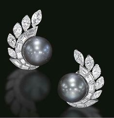 For example, every woman needs an LBD (little black dress), and a pair of pearl earrings. Pearl earrings have the wonderful ability of bein… High Jewelry, Pearl Jewelry, Vintage Jewelry, Pearl Stud Earrings, Pearl Studs, Diamond Earing, Diamond Jewelry, Van Cleef And Arpels Jewelry, Van Cleef Arpels
