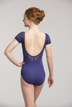 Cap Sleeve Leotard w/ Kara Lace ~ Show off your lovely neck and arms by covering them in beautiful Kara lace. The kara lace trim on this bodysuit is found on the front, back, and sleeves. It has a shelf lining and is a great addition to your dance wardrobe. www.ainsliewear.com