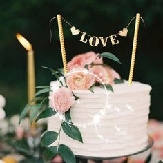 Love Flag Wedding Cake Topper Set Wedding Decoration - Wedding Look