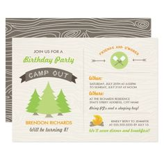 Camping Birthday Party Invitations Fun Birthday Camp Out Invitation