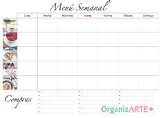 Imprimible Menú Semanal Ahorra tiempo, dinero y pierde peso planeando tus comidas!