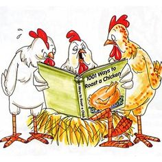 3 chickens reading book - 1001 Ways to Roast a Chicken