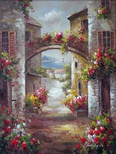 ART~ Floral Arches, Window Flowers Boxes And Views Onto The Sea....It's The Italian Riviera With It's Colourful Walls. But Where Else Could It Be?