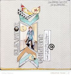 #papercraft #scrapbook #layout.  elevator jumping (studio calico printshop line) by just g at @Studio_Calico