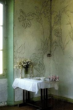 Wall decorations by French artist and poet LP Promenheur. World of Interiors magazine. Must do it in my little bedroom corner. Interior And Exterior, Interior Design, Interior Decorating, Deco Ethnic Chic, Scandinavia Design, Interiors Magazine, Decoration Table, Wall Decorations, Wall Finishes