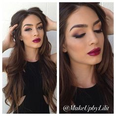 Plum lips and smokey wing