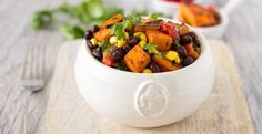 Looking for a healthier potato salad? No mayo required here. Spice up your back yard BBQ, with this smokey chipotle mix of sweet potatoes, black beans, corn, roasted red peppers and cilantro. Can be served chilled, room temperature, or even hot. A perfect complement to so many of your summertime BBQ favorites. Start by cutting...Read More