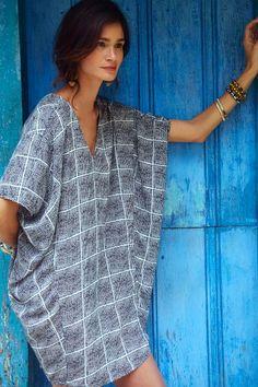 Anthropologie Paned Cocoon Dress #anthrofav